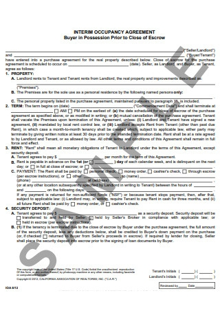 Interim Occupancy Agreement