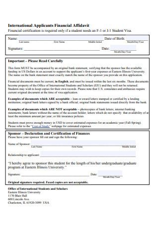 International Applicants Financial Affidavit