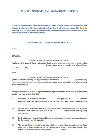 International Joint Venture Contract Template