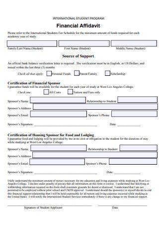 International Student Program Financial Affidavit
