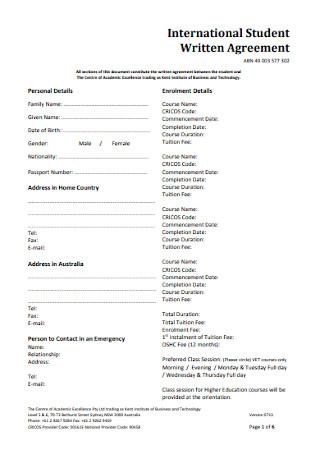 International Student Written Agreement
