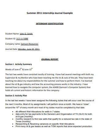 Internship Journal Report