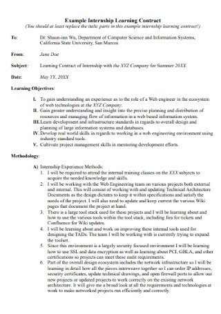 Internship Learning Contract Example