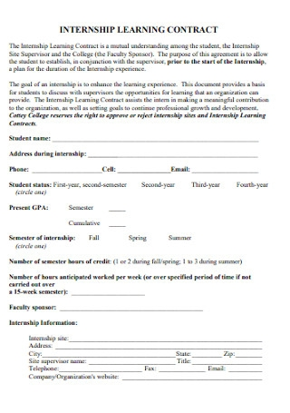 Internship Learning Contract