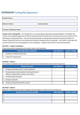 Internship Training Plan Agreement