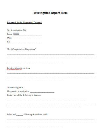 Investigation Report Form