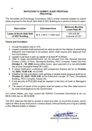 Invitation to Submit Lease Proposal