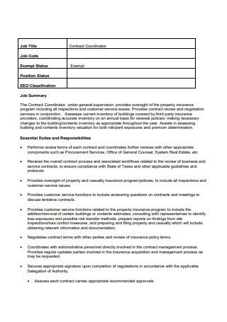 Job Coordinator Contract