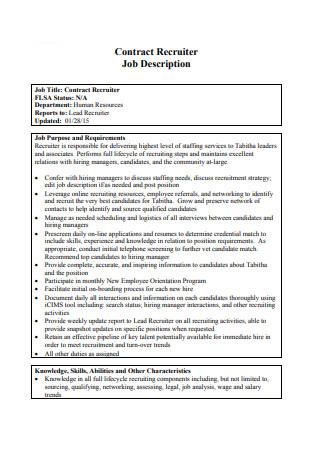 Job Description Recruiter Contract