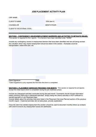 Job Placement Activity Plan