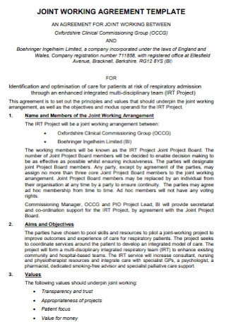 Joint Working Agreement Template