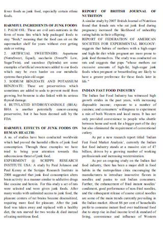 Junk Food Survey Report