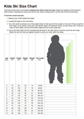 Kids Ski Size Chart