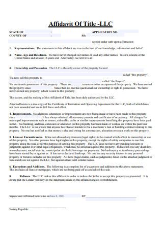 LLC Affidavit of Title