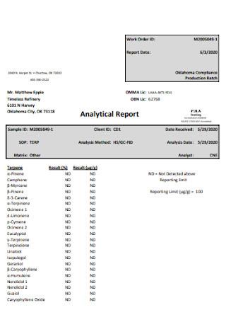 Laboraties Analytical Report