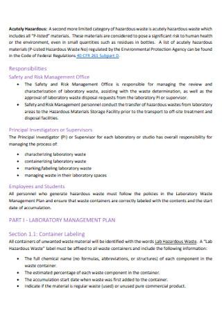 Laboratory Waste Management Plan