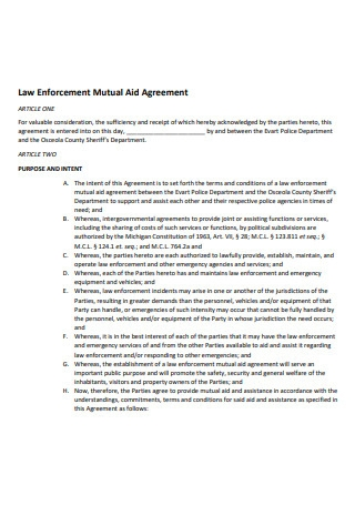 Law Enforcement Mutual Aid Agreement