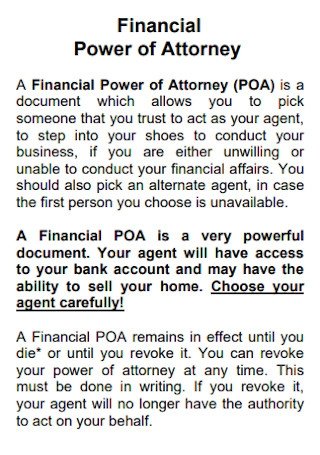 Law Office Financial Power of Attorney