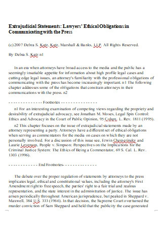 Lawyer Ethical Statement