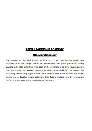Leadership Academy Mission Statement