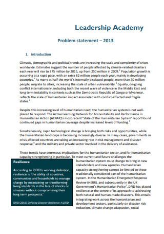 Leadership Academy Problem Statement
