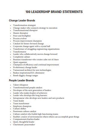 Leadership Brand Statement