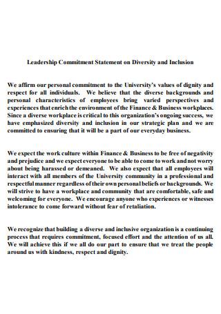 Leadership Commitment Statement