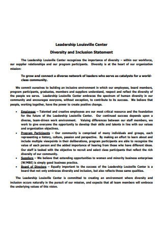Leadership Diversity and Inclusion Statement