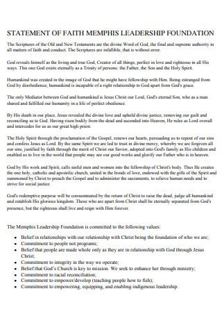 Leadership Foundation Statement