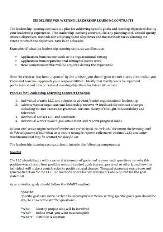 Leadership Learning Contract