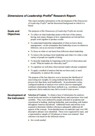Leadership Profile Research Report