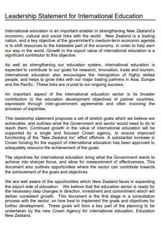 Leadership Statement For International Education