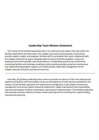 Leadership Team Mission Statement