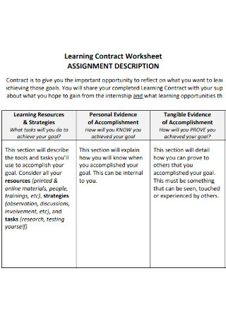 Learning Contract Worksheet
