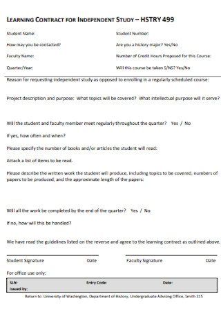 Learning Contract for Independent Study