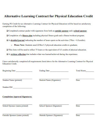 Learning Contract for Physical Education