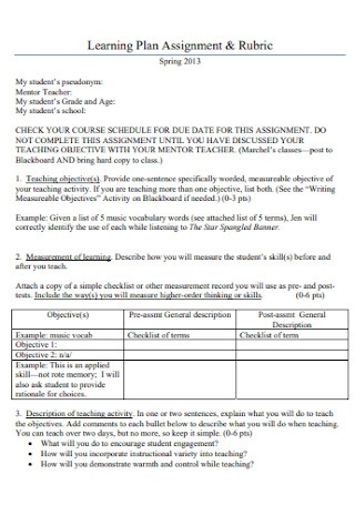 Learning Plan Assignment Template
