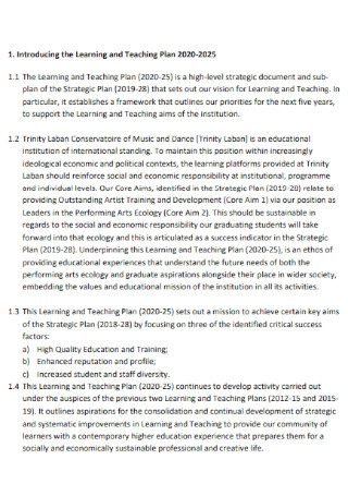 Learning and Teaching Plan