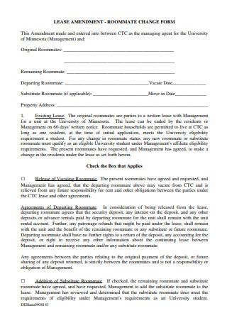 Lease Amendment Change Form