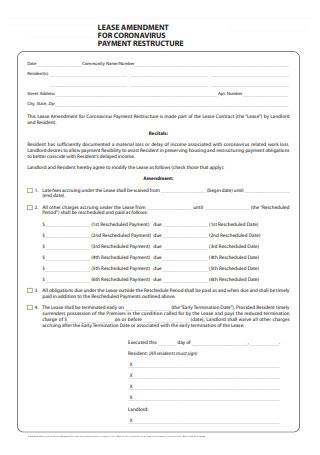 Lease Amendment For Payment