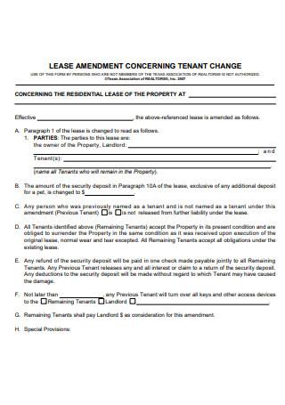 Lease Amendment Tenant Change