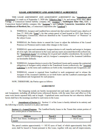 Lease Amendment and Assignment Agreement