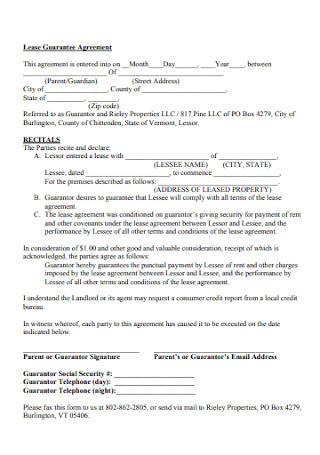 Lease Guarantee Agreement