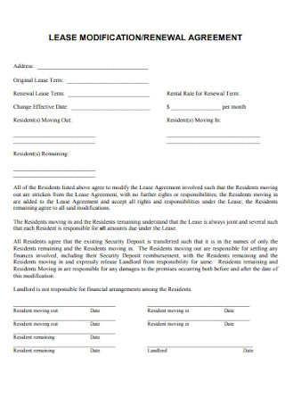 Lease Modification and Renewal Agreement