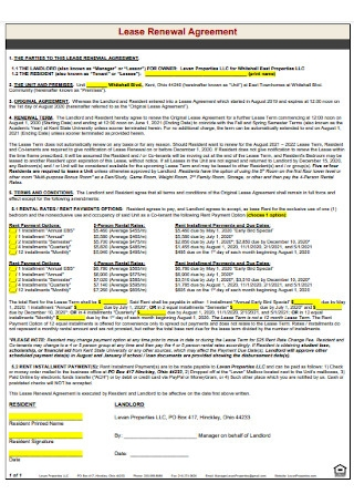 Lease Renewal Agreement Format