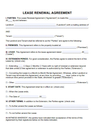 Lease Renwal Agreement Format