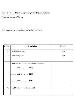 Lease and Rental Proposal