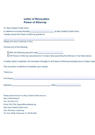 Letter of Revocation Power of Attorney
