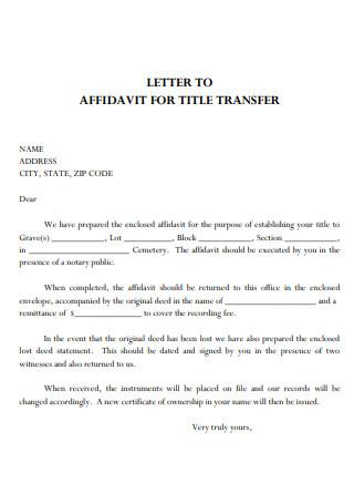 Letter to Affidavit For Title Transfer