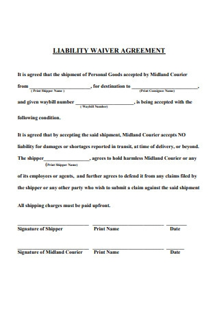 Liability Waiver Agreement